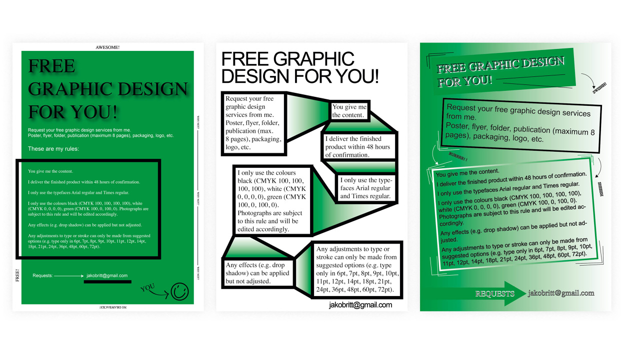 Free graphic design project jakob ritt graphic design limitations to myself and offered my design services for free on the internet this project helped me to strengthen my understanding that graphic design solutioingenieria Choice Image